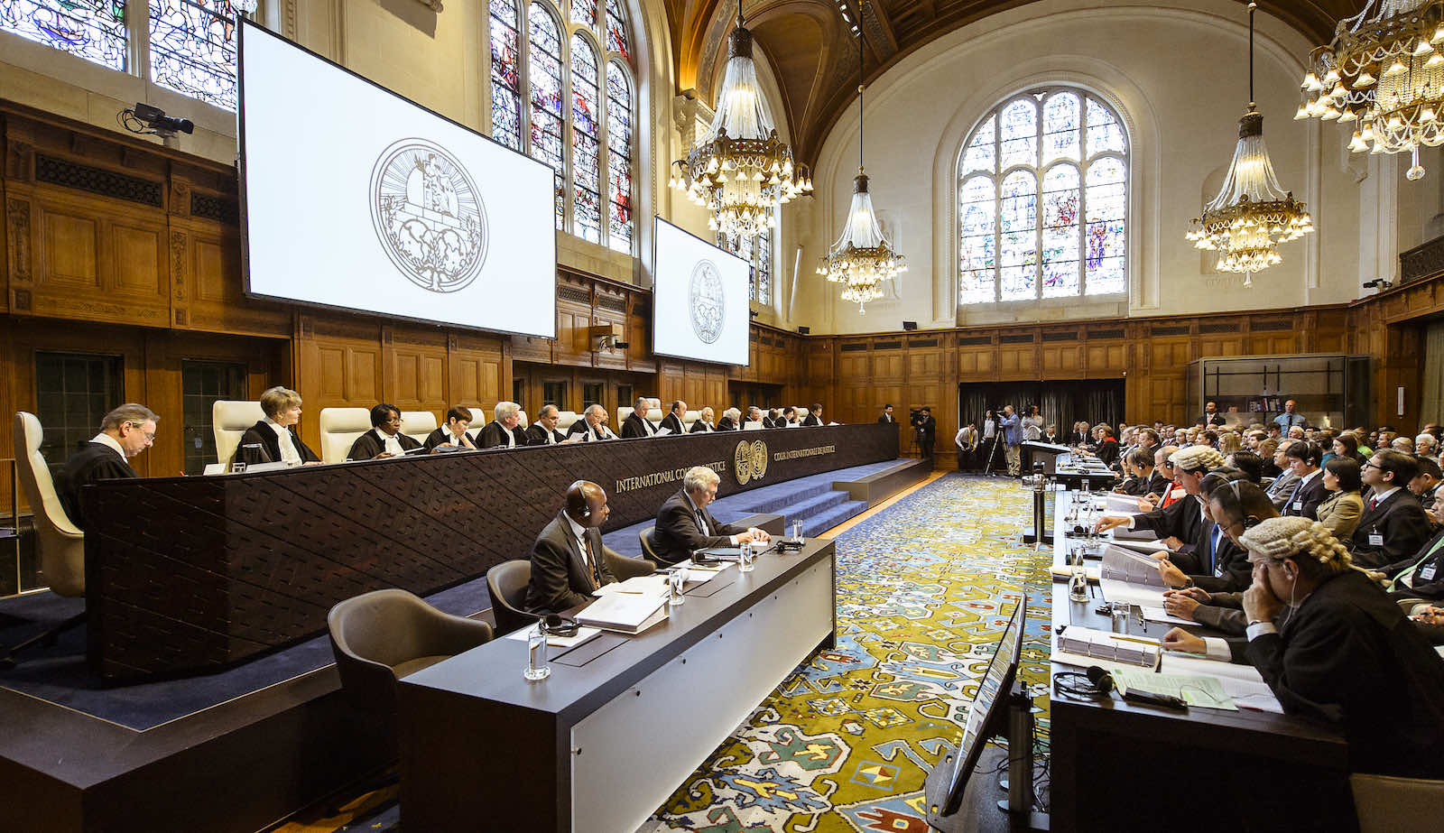 Judges of the ICJ, including Hilary Charlesworth as judge ad hoc, at the opening of the public hearings on 26 June 2013 in the case concerning whaling in the Antarctica, Australia vs Japan (UN Photo/ICJ-CIJ)