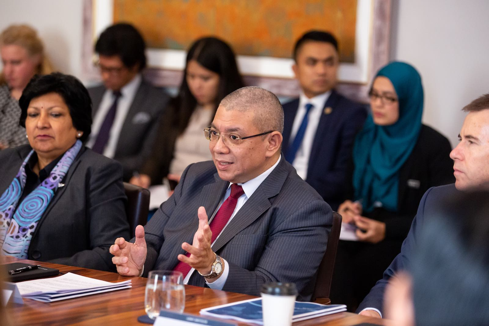 Malaysia's Foreign Minister Saifuddin Abdullah at a Lowy Institute roundtable in Sydney (Photos: Peter Morris/Sydney Heads)