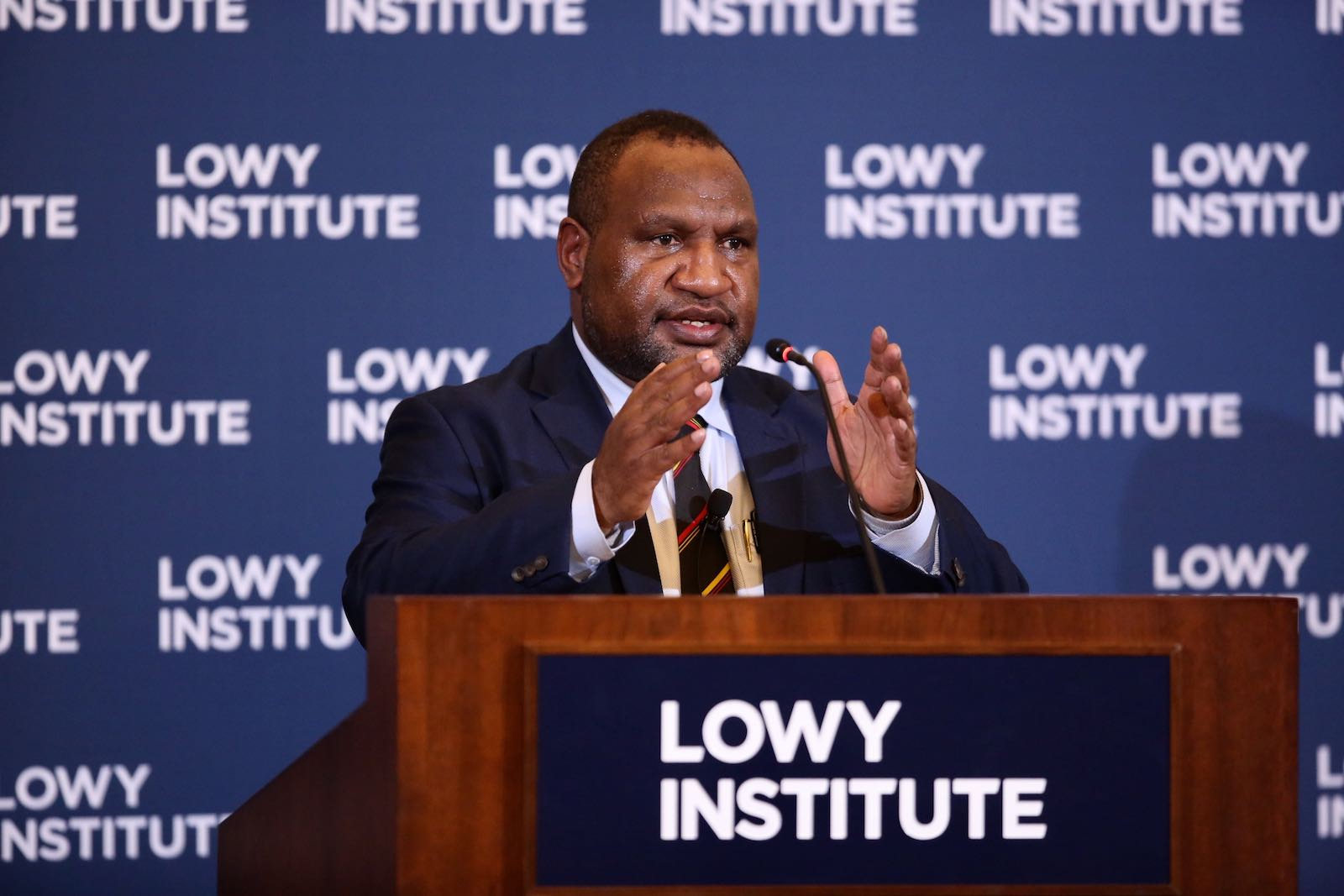 PNG PM James Marape at the Lowy Institute to deliver his first international address since taking office