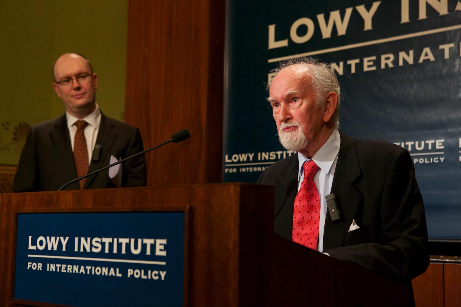 Owen Harries, with Michael Fullilove in the background, introducing the 2013 Owen Harries Lecture.