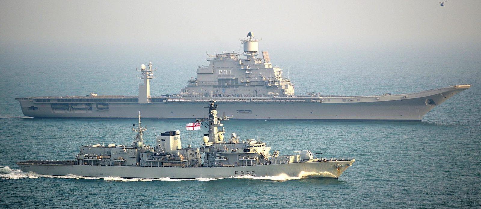 INS Vikramaditya with British Royal Navy frigate HMS Monmouth (Photo: Ministry of Defence, UK)