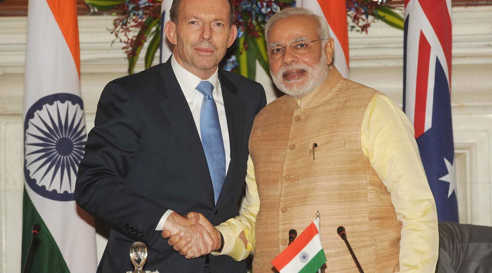 Then Australian prime minister Tony Abbott with India's Narendra Modi in 2014 (Photo: Narendra Modi/Flickr)