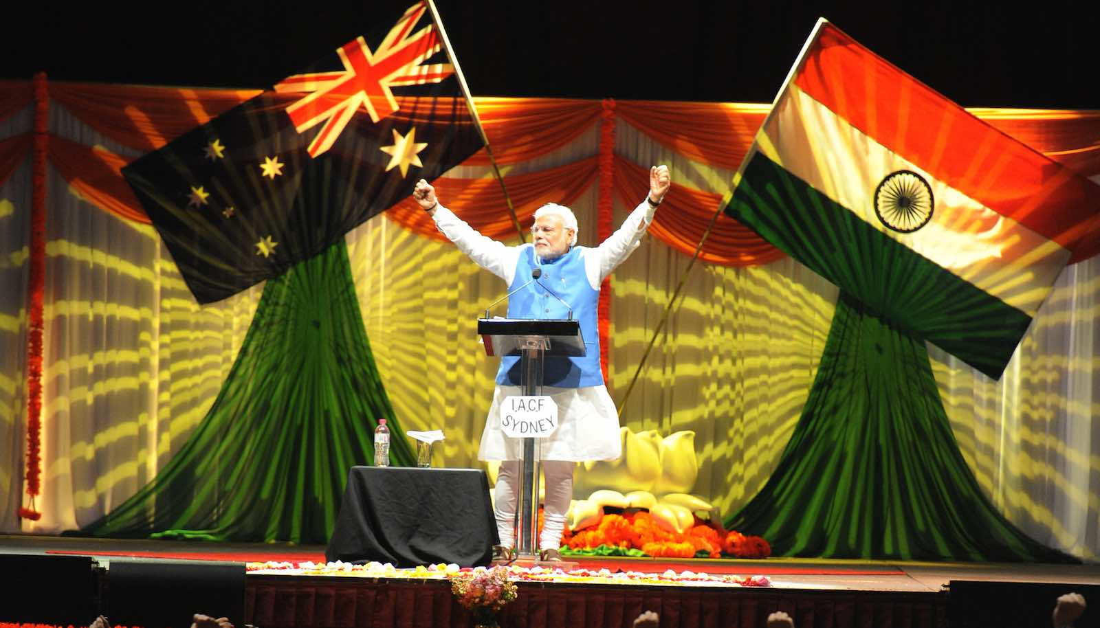 Indian Prime Minister Narendra Modi at Allphones Arena in Sydney, November 2014, when Australia hosted the G20 summit (Photo: MEAphotogallery/Flickr)