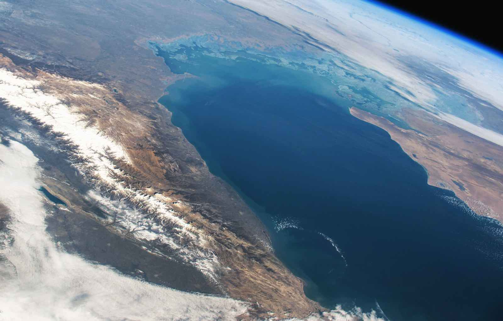 Caspian Sea from space (Photo: NASA via Stuart Rankin/Flickr)