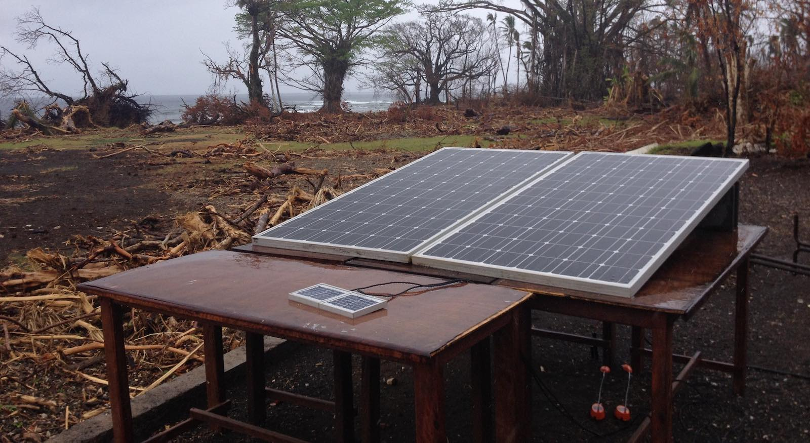 Solar panels can be readily deployed for electricity - whether to charge a mobile phone or here, in Vanuatu in 2015 following Cyclone Pam (Photo: UNDP)