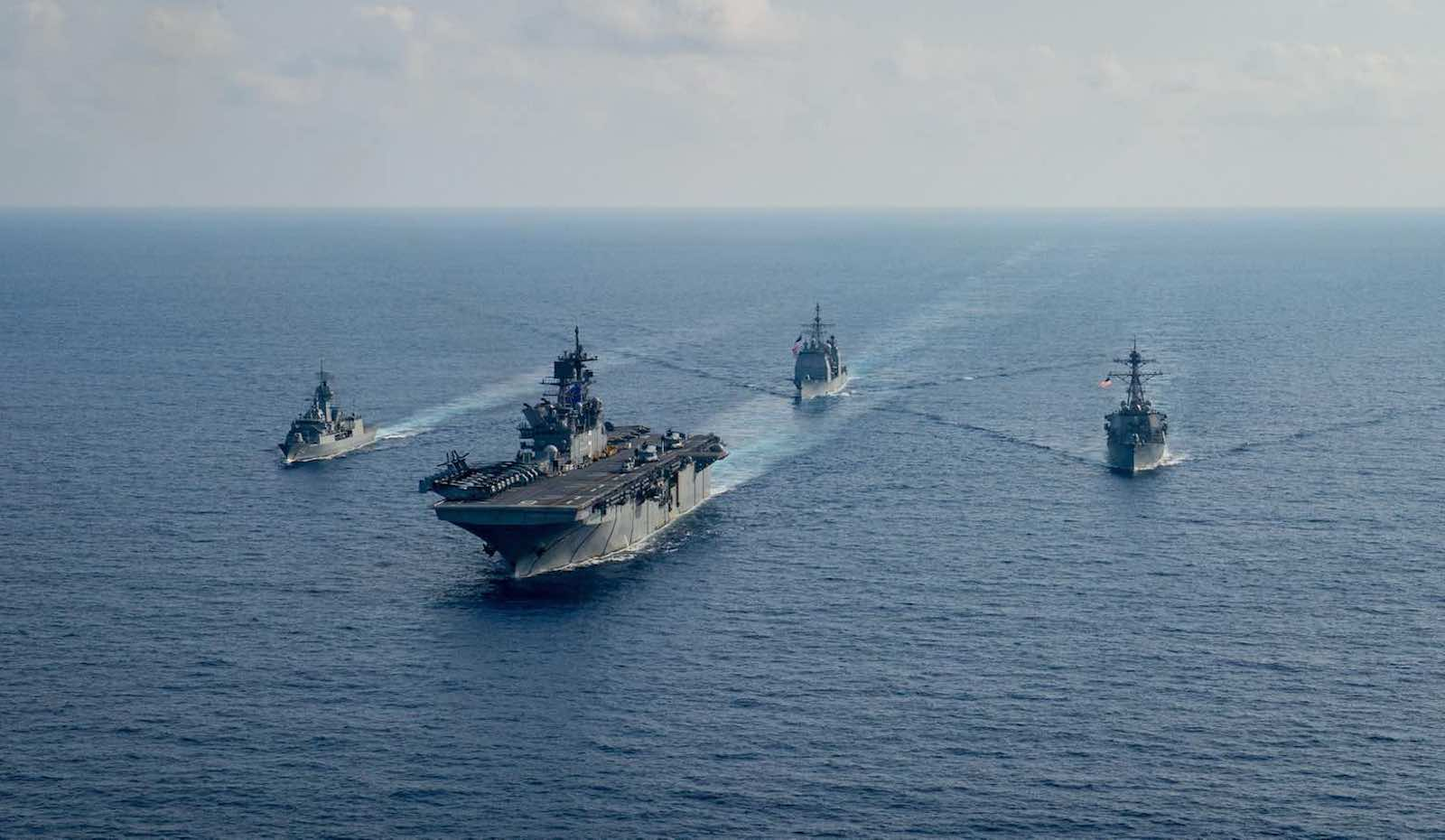 Joint Australian-US naval manoeuvres in the South China Sea, 23 April 2020 (Department of Defence)