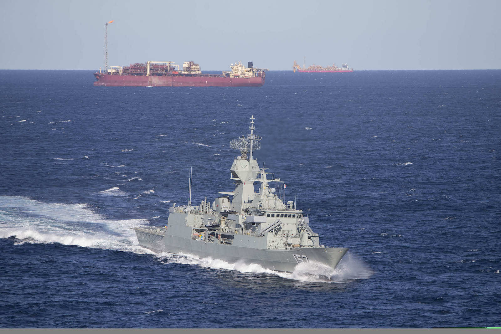 HMAS Perth patrols the North West Shelf off the coast of Western Australia in 2016 (Department of Defence)