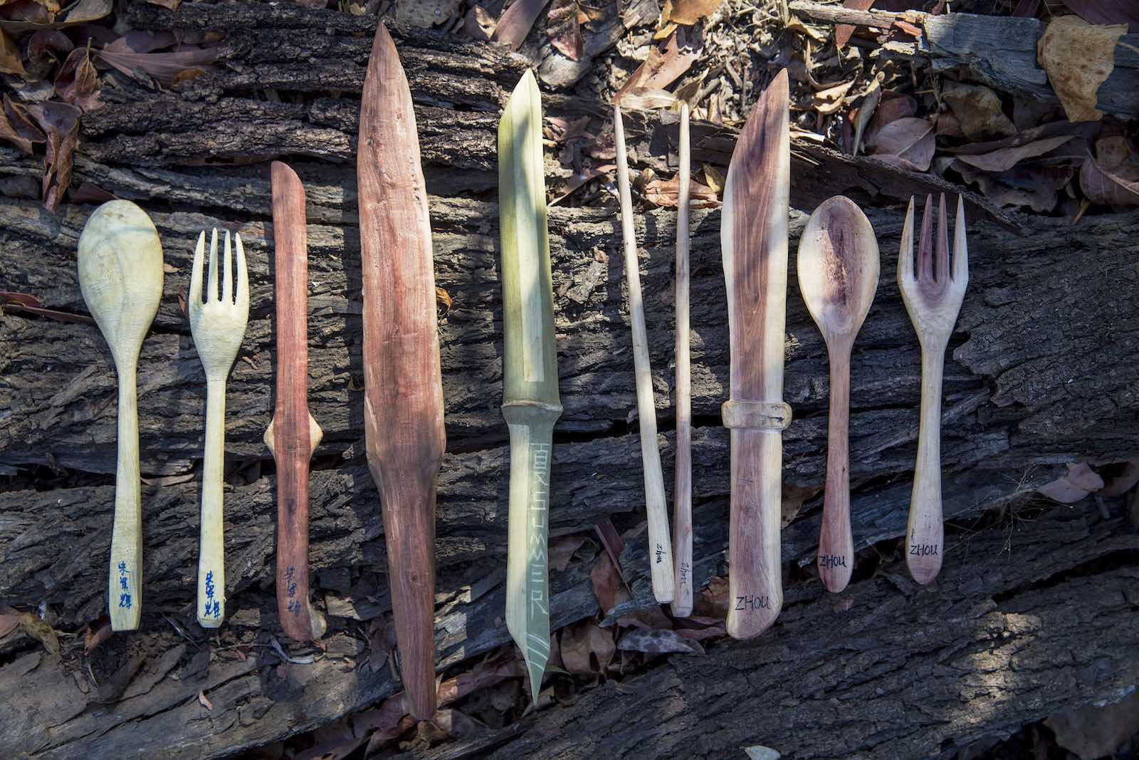 Eating utensils hand carved by Australian Army, US Army, US Marine Corps and Chinese People's Liberation Army troops during joint training Exercise Kowari 2016 in the Northern Territory (Photo: Defence Department)