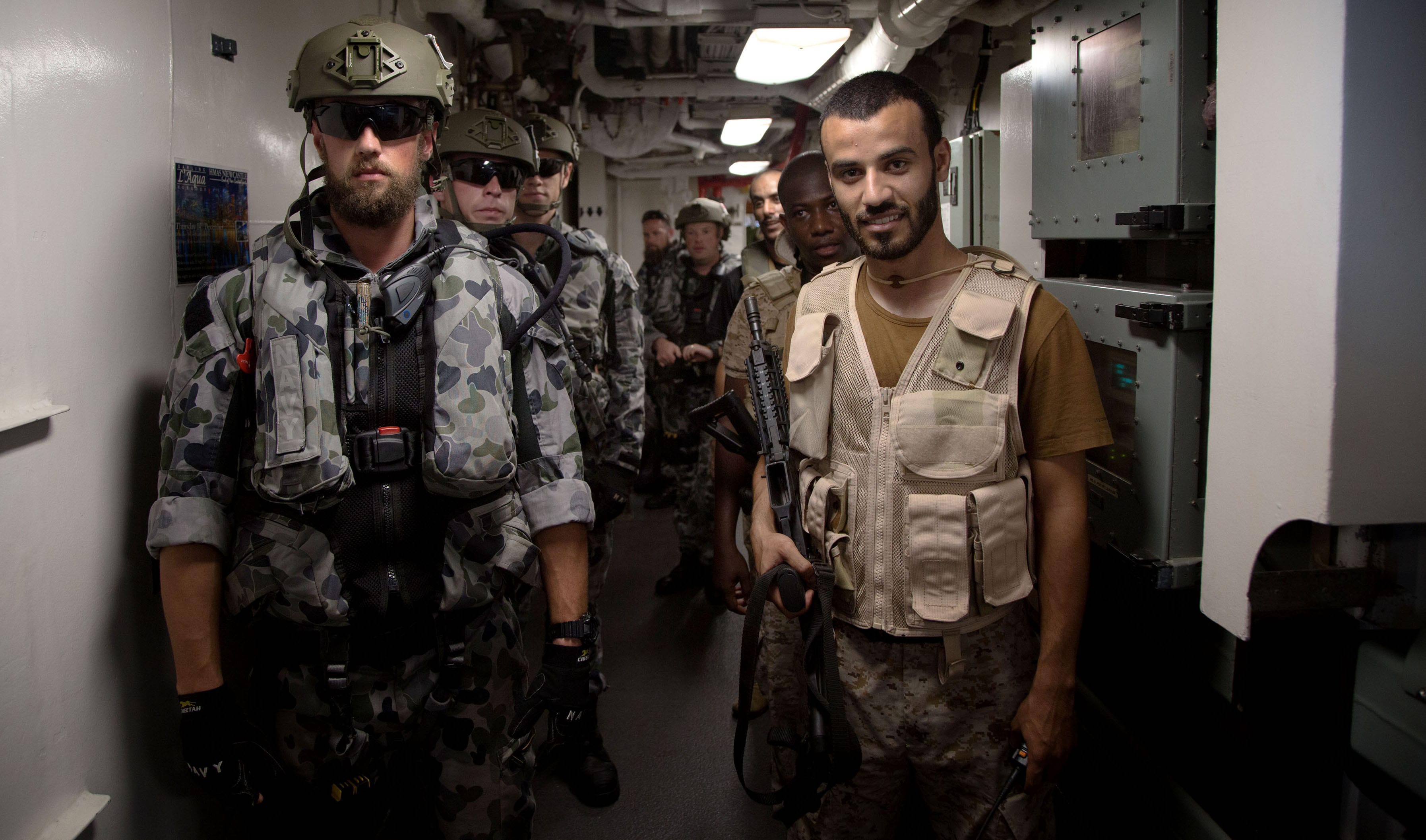 Australian and Royal Saudi Naval Forces during boarding party training (Photo: Nicolas Gonzalez/Defence Dept.)