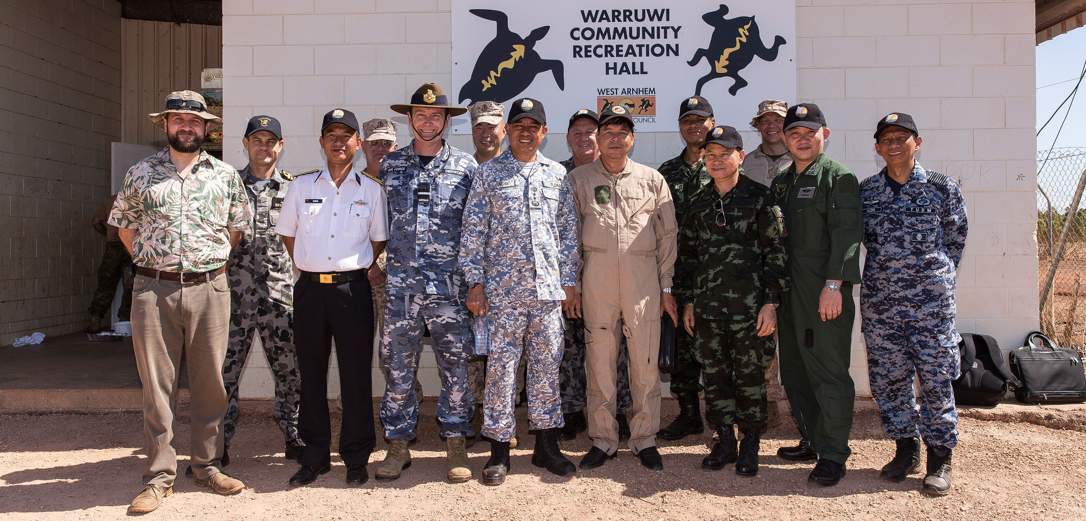 International observers and Lowy Institute International Security Program Director Euan Graham (far left) at Warrawui for Exercise Crocodile Strike (Photo: Commonwealth of Australia/Department of Defence)