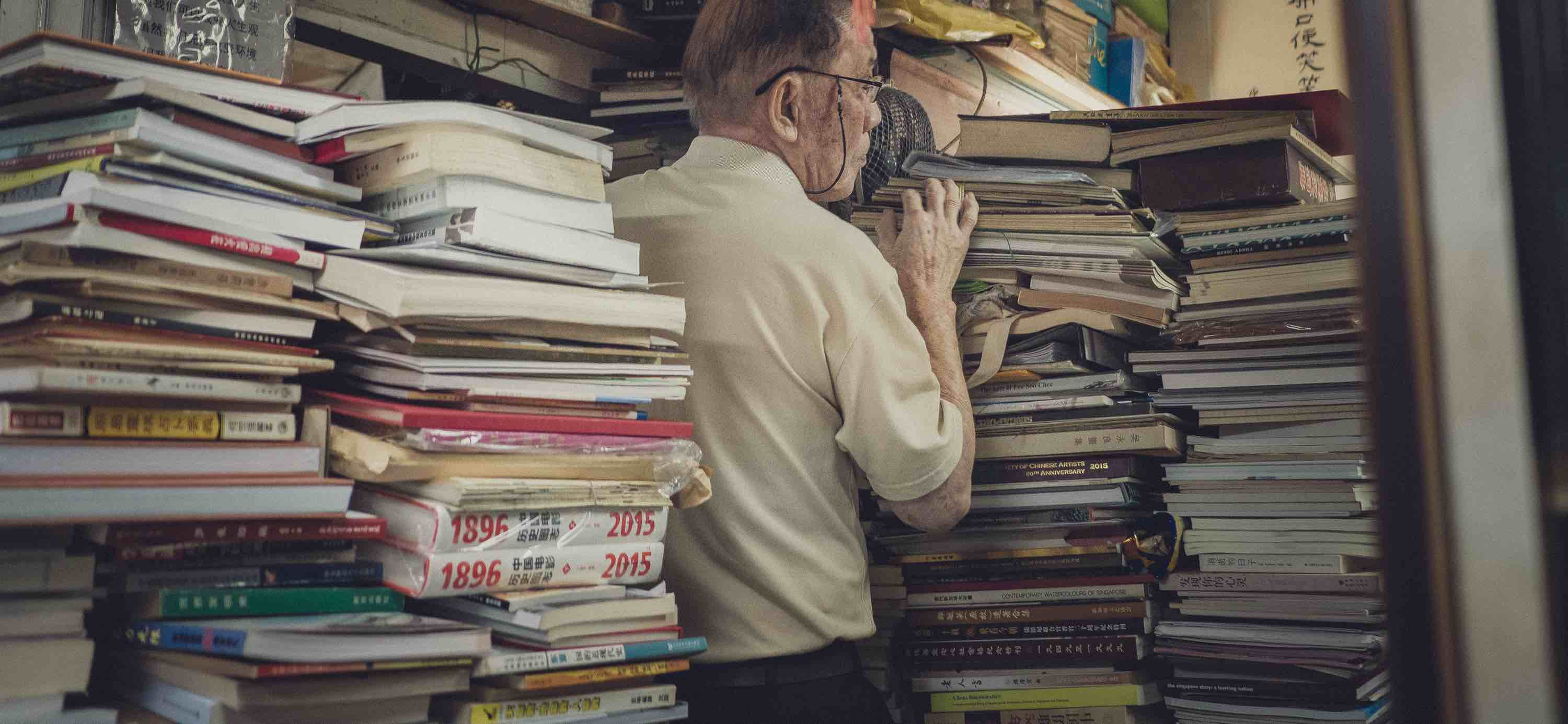 Former Coldstore detainee Yeo San Chai in his Singapore bookstore (Photo: Tom White)
