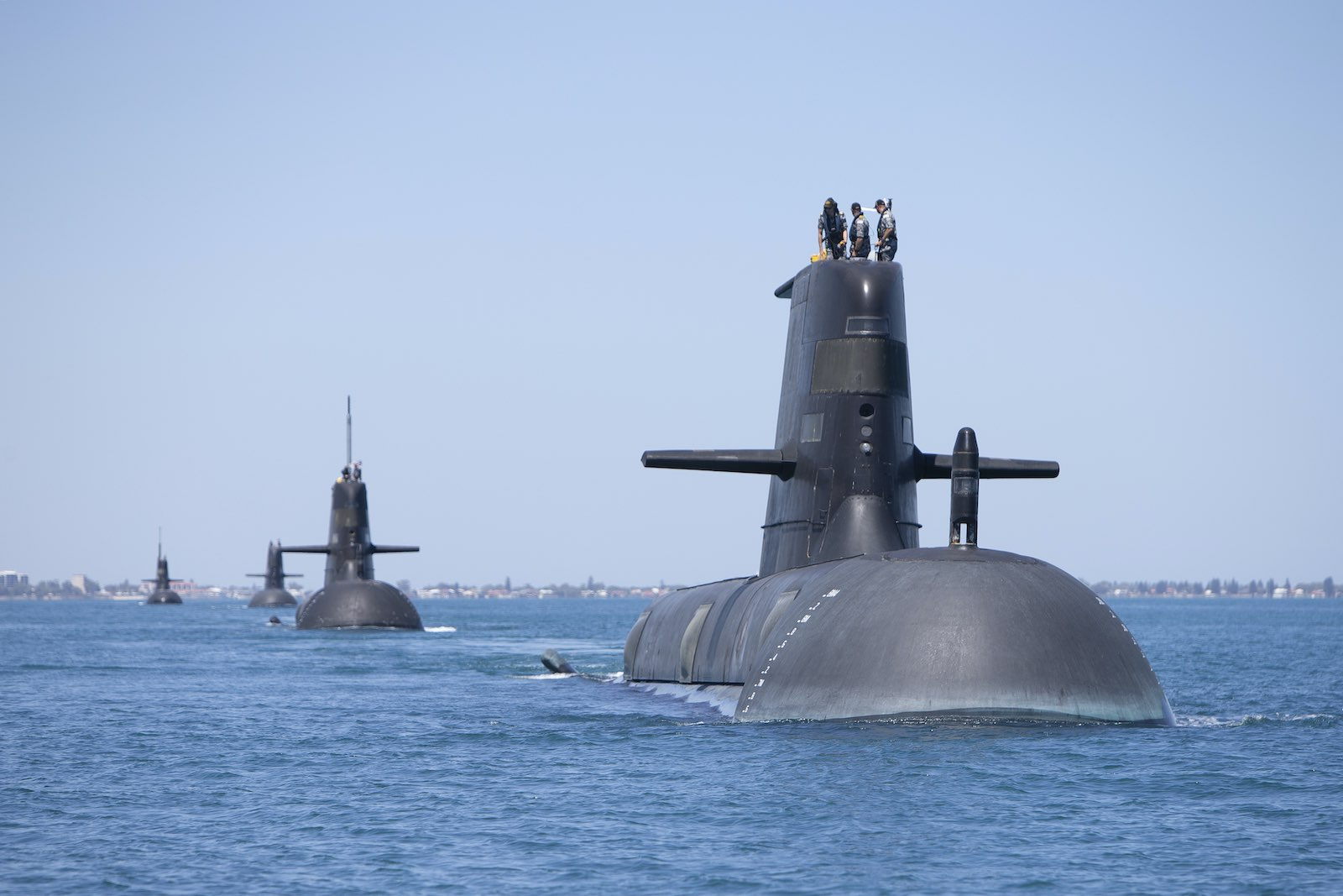 Collins-class submarines transiting through Cockburn Sound, Western Australia, February 2019 (Department of Defence)