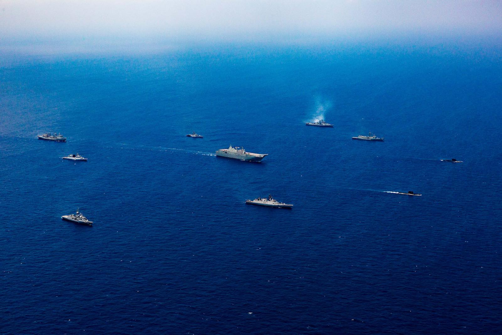A task group of naval ships from Australia and India in formation in the Bay of Bengal during the sea phase of AUSINDEX 2019 (Department of Defence)