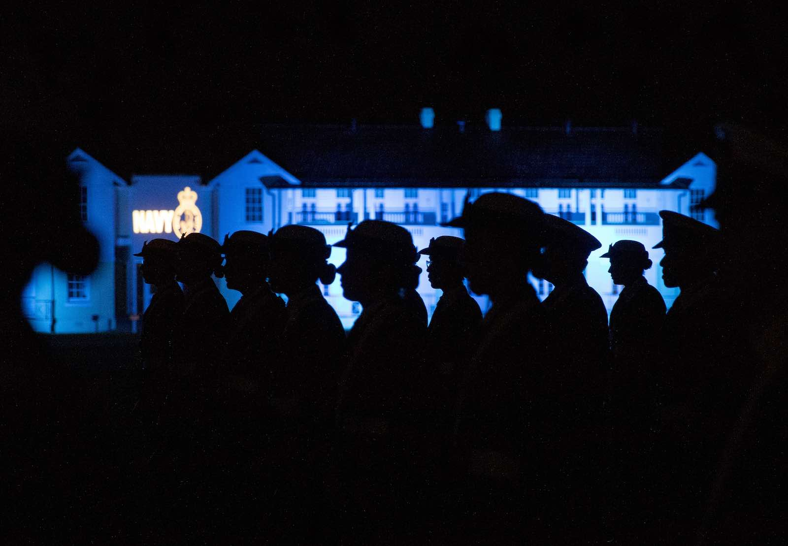 The parade for a Ceremonial Sunset after training at HMAS Creswell (Photo: Defence Department)