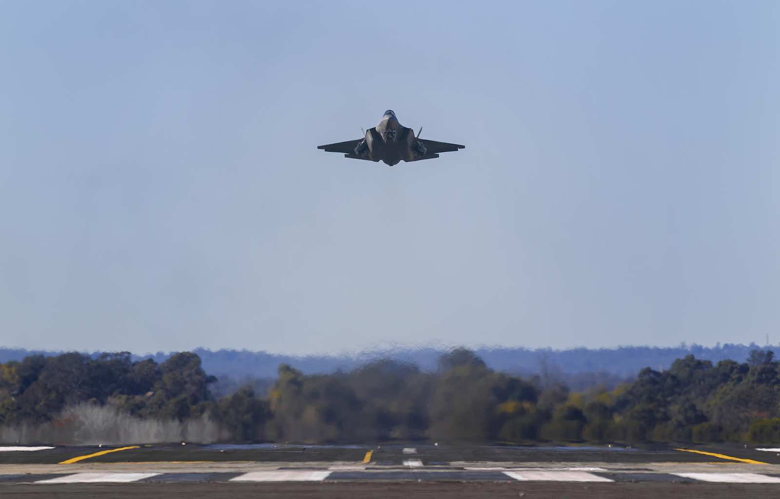 An F-35A Joint Strike Fighter on approach at RAAF Base Richmond in July (Photo: Department of Defence)