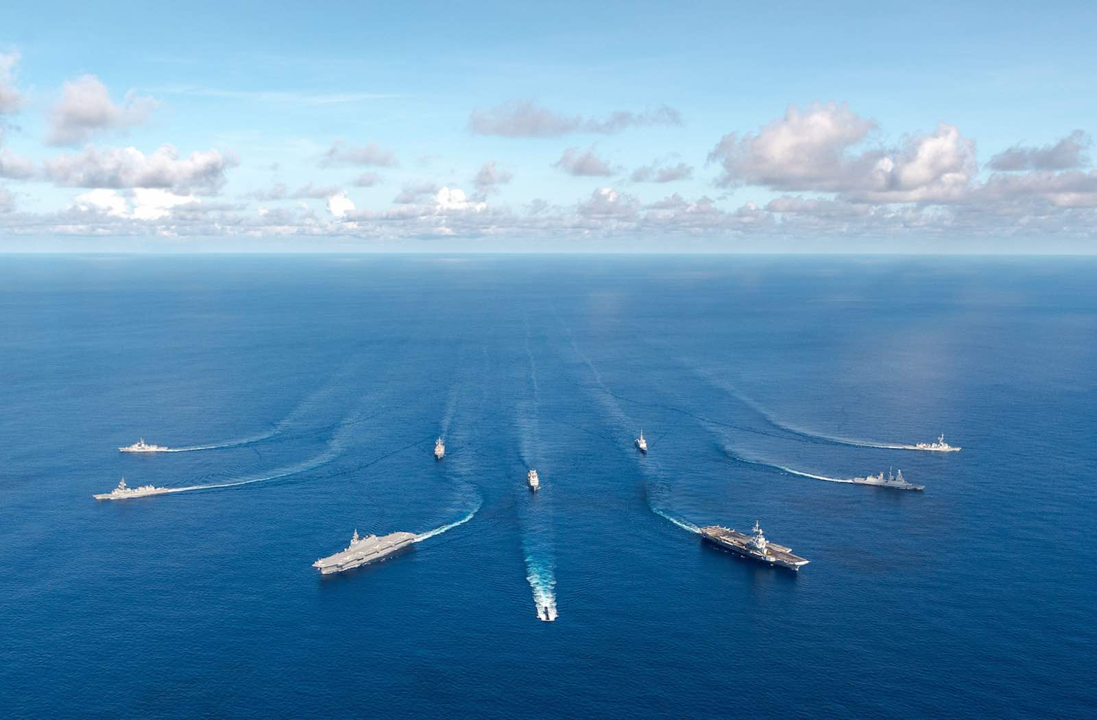 """""""La Pérouse"""" joint naval exercises in the Bay of Bengal, May 2019, with ships from Australia, France, Japan, and the US (Clarisse Dupont/Marine Nationale via ADF)"""