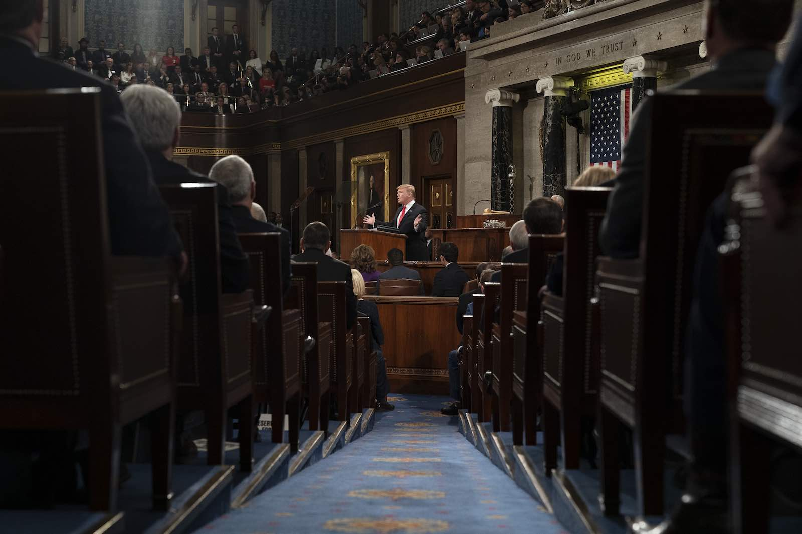 US President Donald Trump delivers the 2019 State of the Union address, Washington, 5 February 2019 (Photo: D. Myles Cullen/Wikimedia Commons)