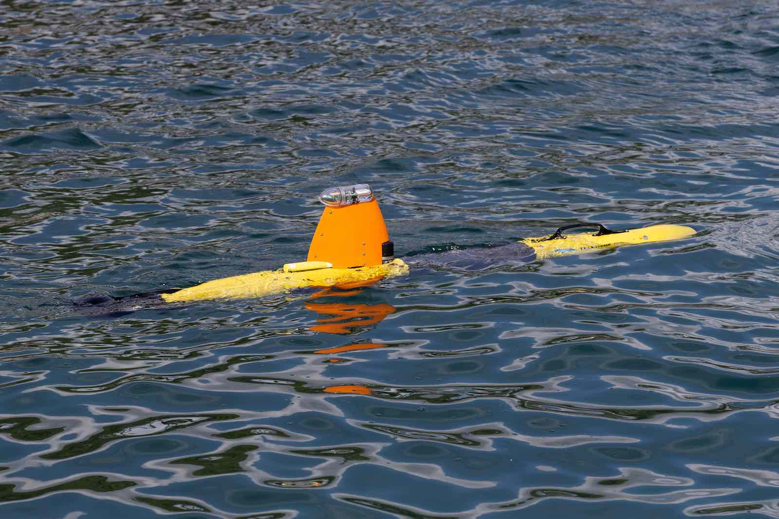 The Gavia Autonomous Underwater Vehicle, remotely piloted by the Australian Mine Warfare Team (Department of Defence)