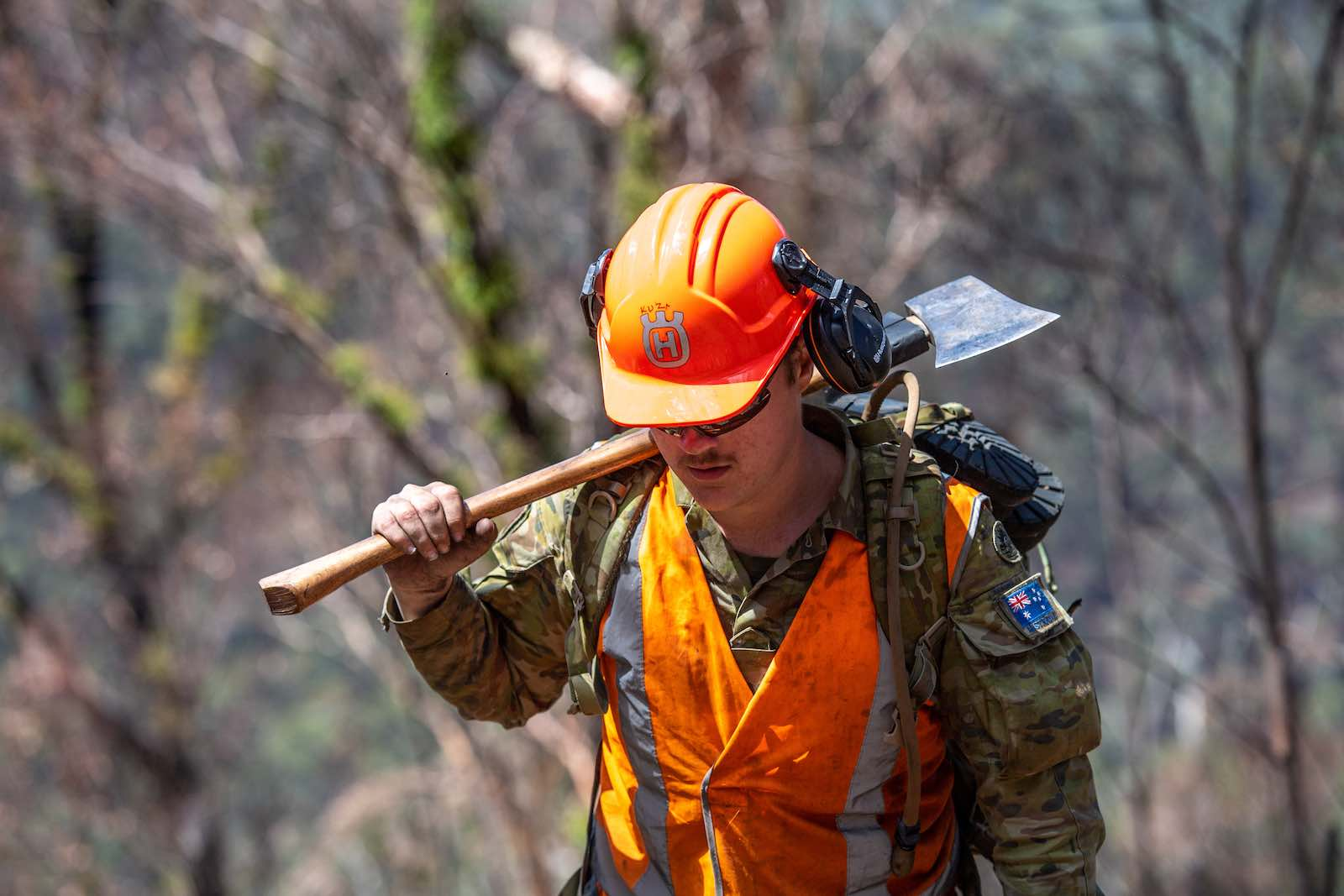 An Australian solider during clean up operations in February following the summer bushfires near Tom Groggin, Victoria (Department of Defence)