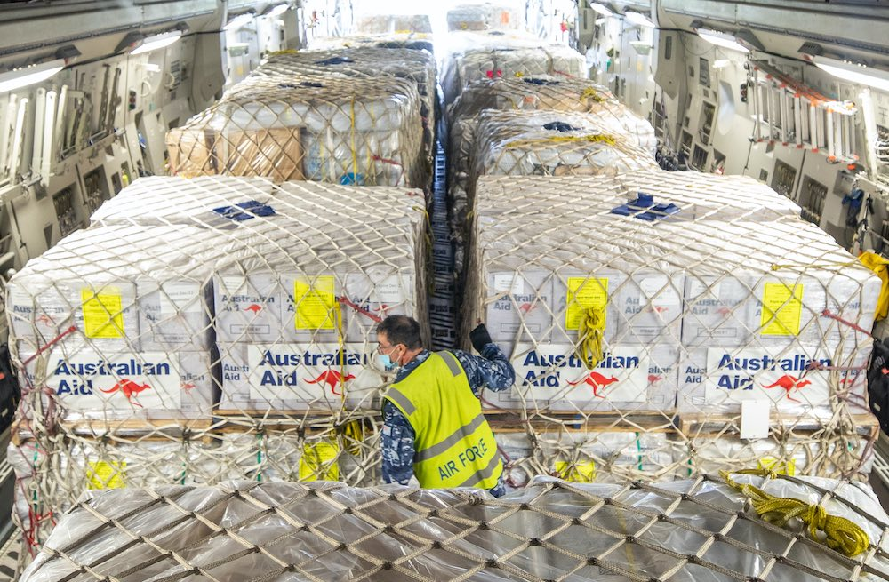 Humanitarian aid bound for Fiji being loaded on an RAAF aircraft, near Ipswich in Queensland, December 2020 (Department of Defence)