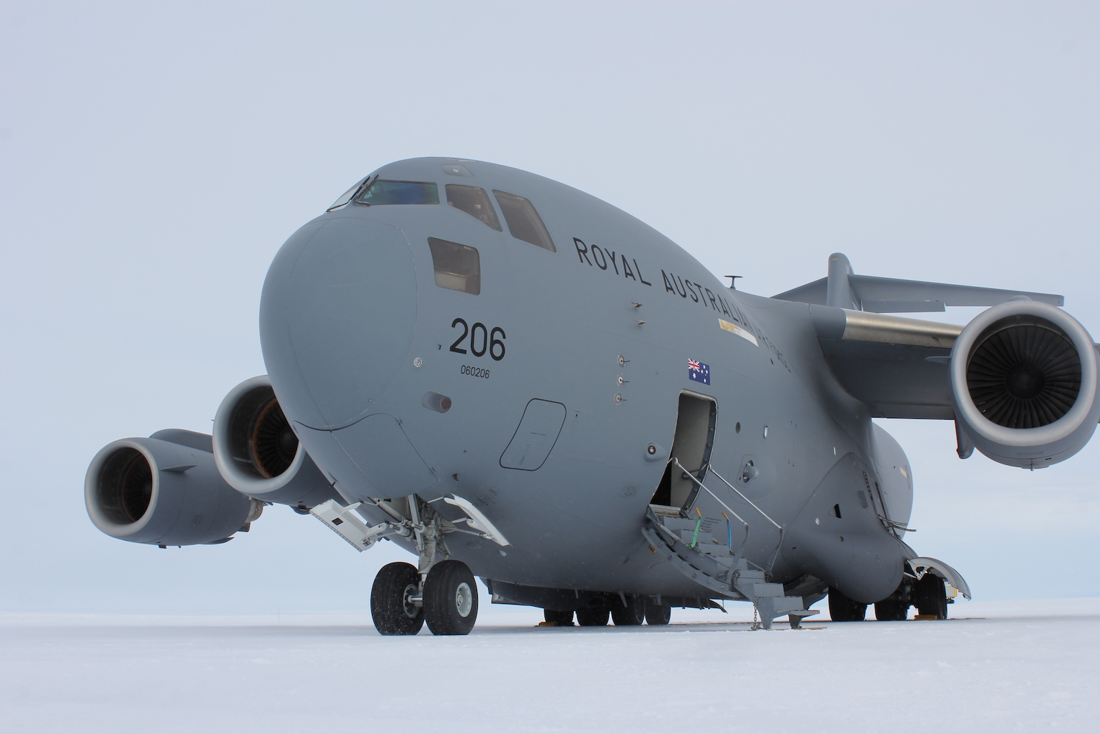 RAAF C-17A Globemaster III at Wilkins Aerodrome in Antarctica for Operation Southern Discovery 20/21 (Defence Department)