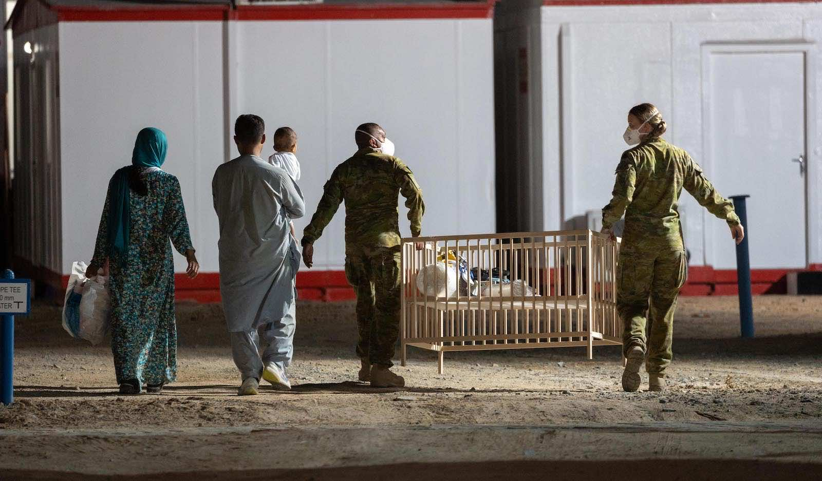 Australian troops at a temporary camp on 21 August for people evacuated from Kabul (Department of Defence)