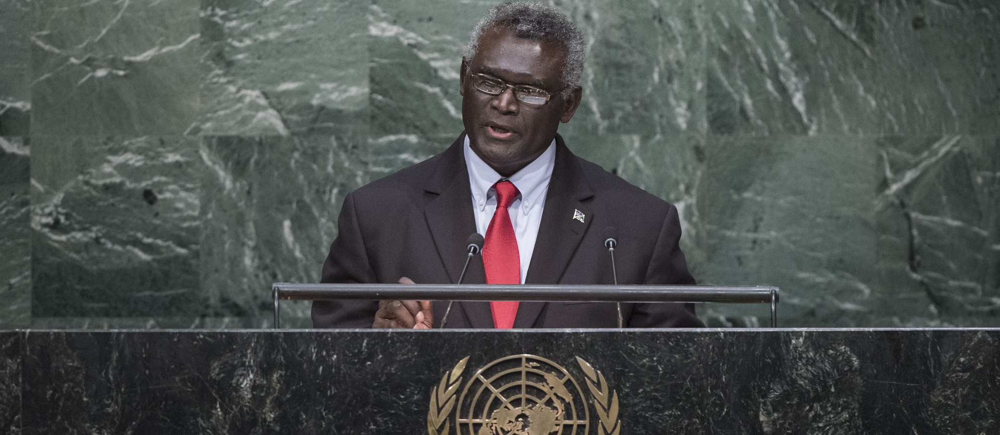 Manasseh Sogavare speaking at the United Nations, October 2015 (Photo: UN Photo/Flickr)
