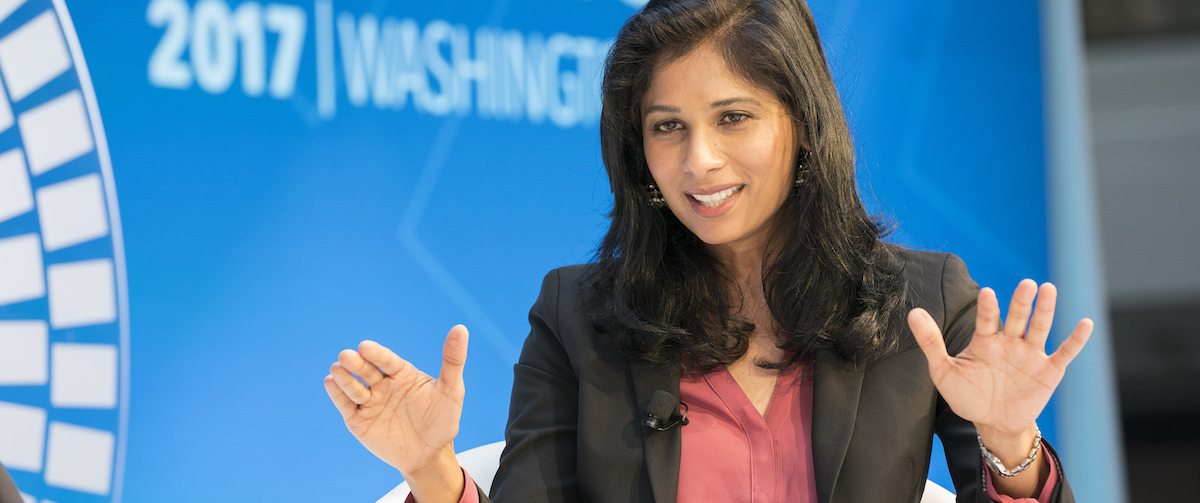Gita Gopinath, newly appointed Chief Economist speaks at the IMF at the CNN Debate on Global Economy last year. (Photo: Stephen Jaffe via Flickr)
