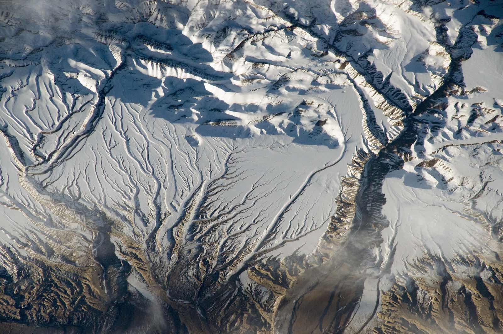 Rivers and snow in the Himalayas along the border between China and India (NASA Johnson/Flickr)