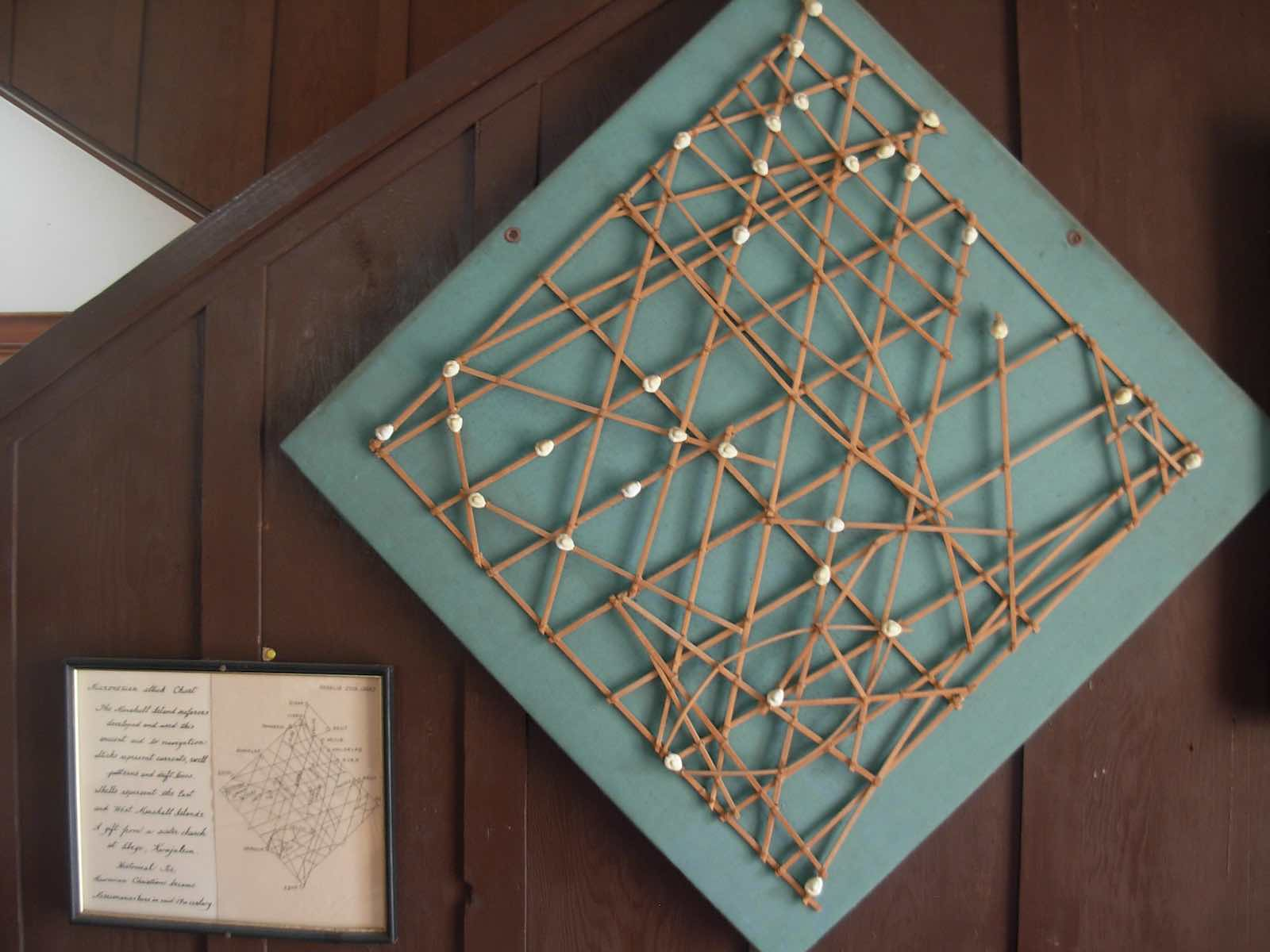 A Micronesian stick chart from Marshall Islands, which ancient seafarers developed and used to aid navigation. Sticks represent currents, swell patterns and drift lines, while shells represent the islands (brewbooks/Flickr)