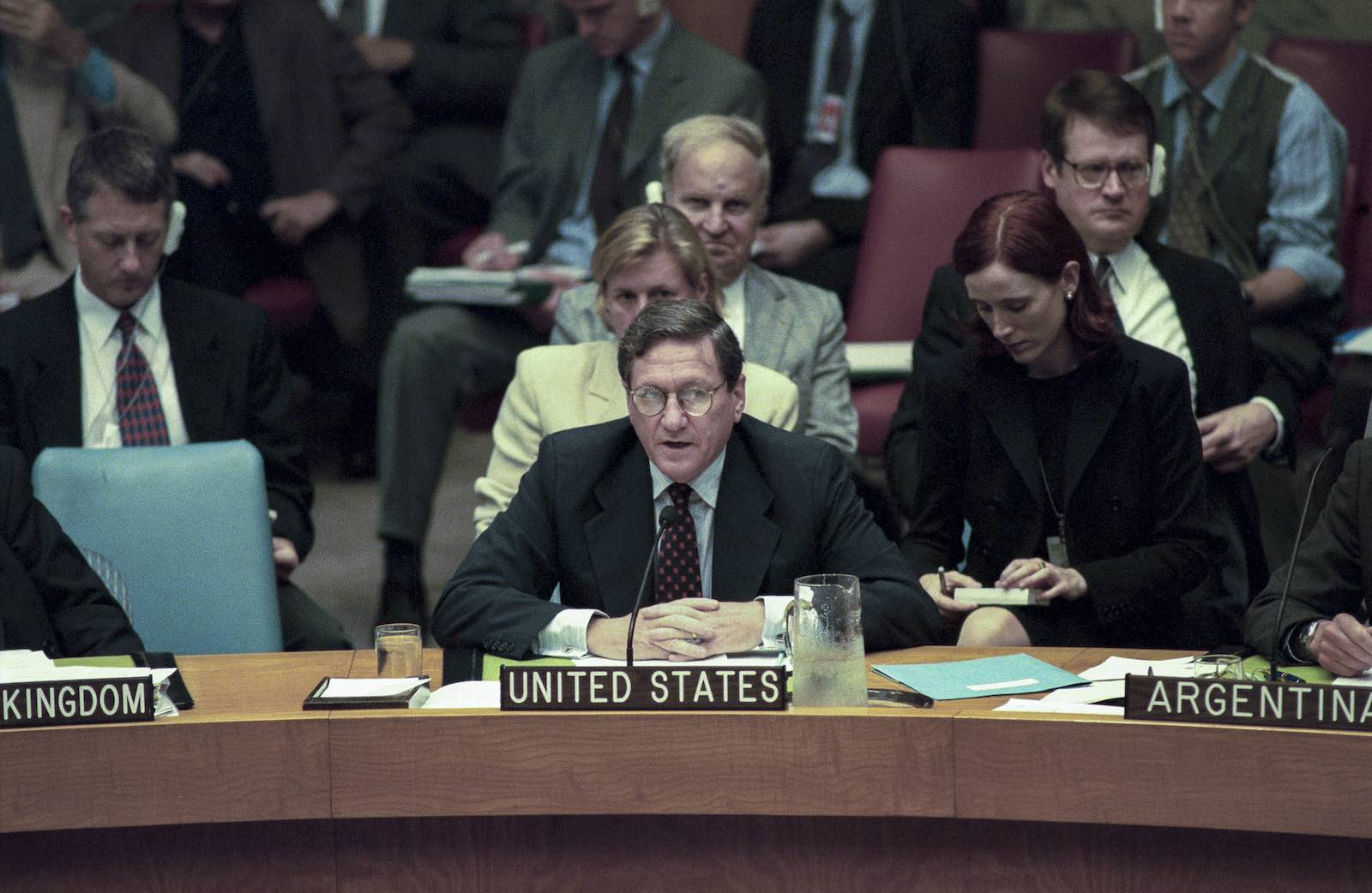 Richard Holbrooke, as Permanent Representative of the United States to the United Nations, addresses the Security Council during the 1999 East Timor crisis (Photo: Evan Schneider/UN Photo)