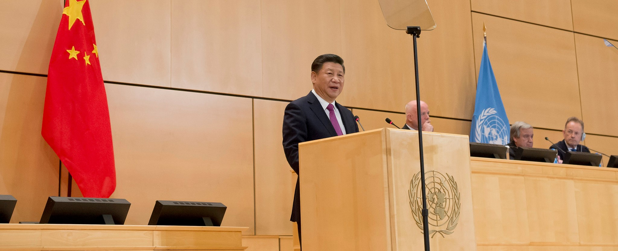 Chinese President Xi Jinping speaking at the United Nations in Geneva, January 2017 (Photo: UN Geneva/Flickr)