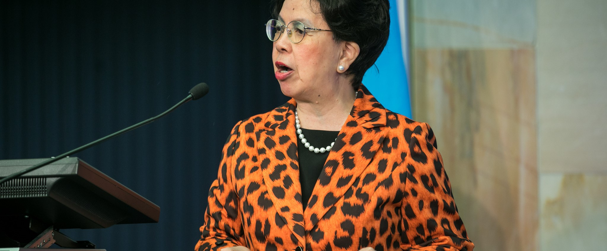 Outgoing WHO Director-General Margaret Chan speaking at a conference at the International Telecommunication Union in Switzerland, June 2017 (Photo: Flickr/ITU)
