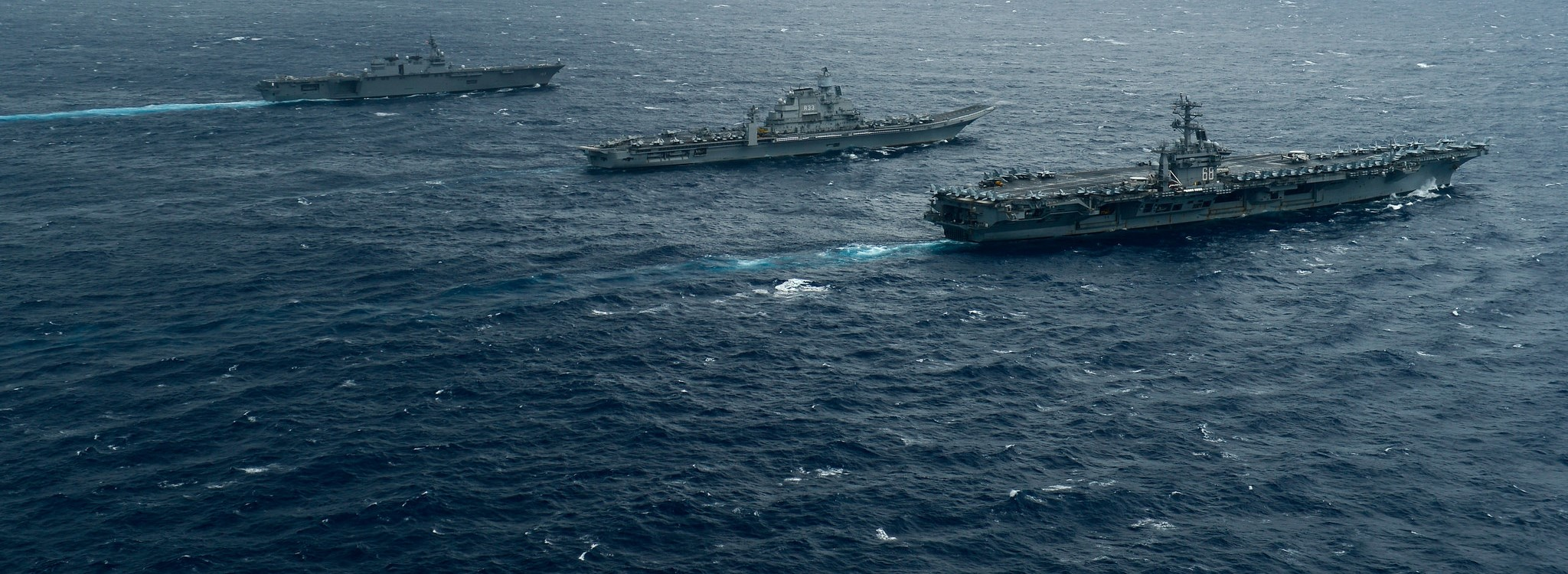 Ships from the Indian Navy, Japan Maritime Self-Defense Force and the US Navy operating in Exercise Malabar 2017, July 2017 (Photo: US Pacific Fleet/Flickr)