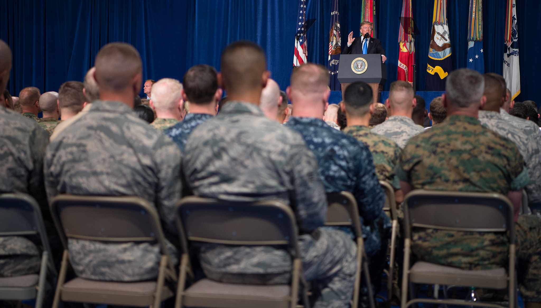US President Donald Trump delivers his address on South Asia strategy at Fort Myer, Virginia, August 2017 (Photo: Flickr/Jim Mattis)