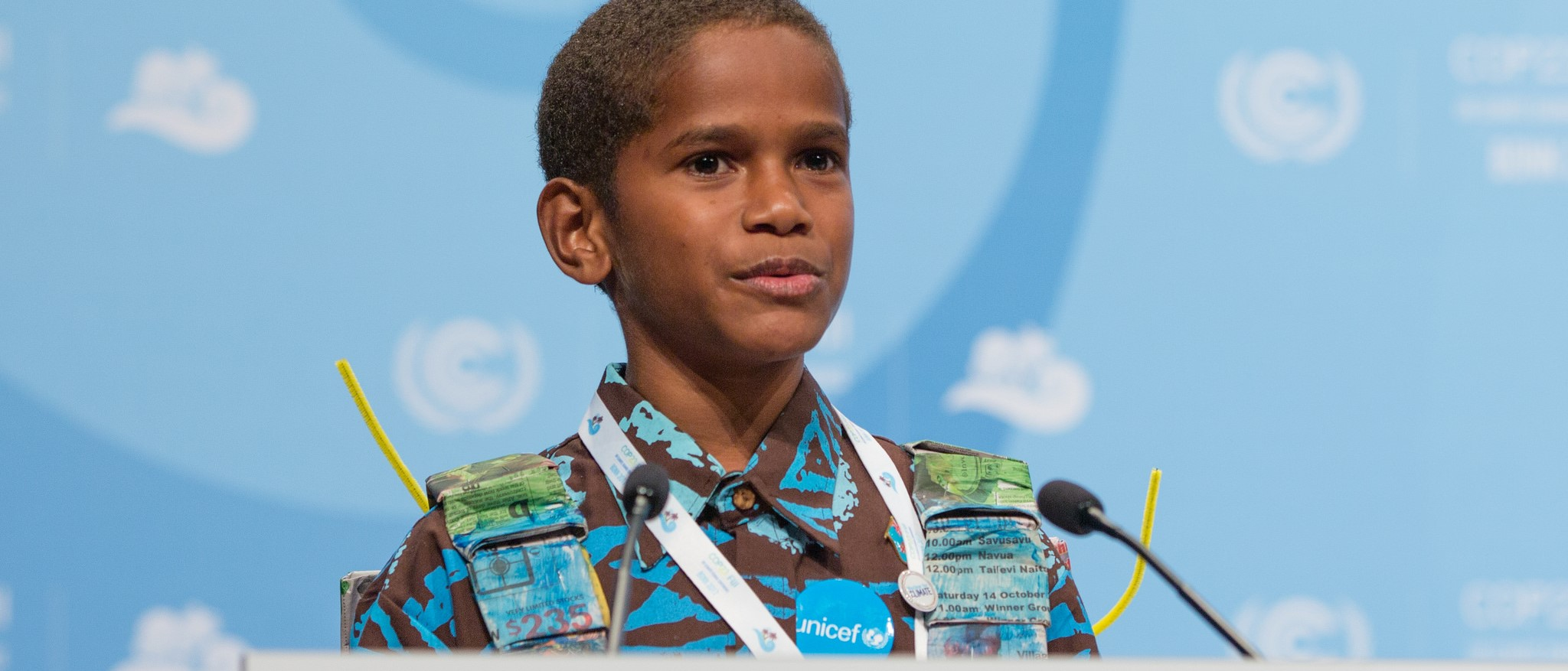 Timoci Naulusala addressing COP23, November 2017 (Photo: UNclimatechange/Flickr)