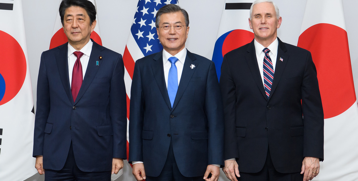 Japan's Shinzo Abe and South Korea's Moon Jae-in with US Vice President Mike Pence at the Winter Olympics (Photo: Republic of Korea/Flickr)