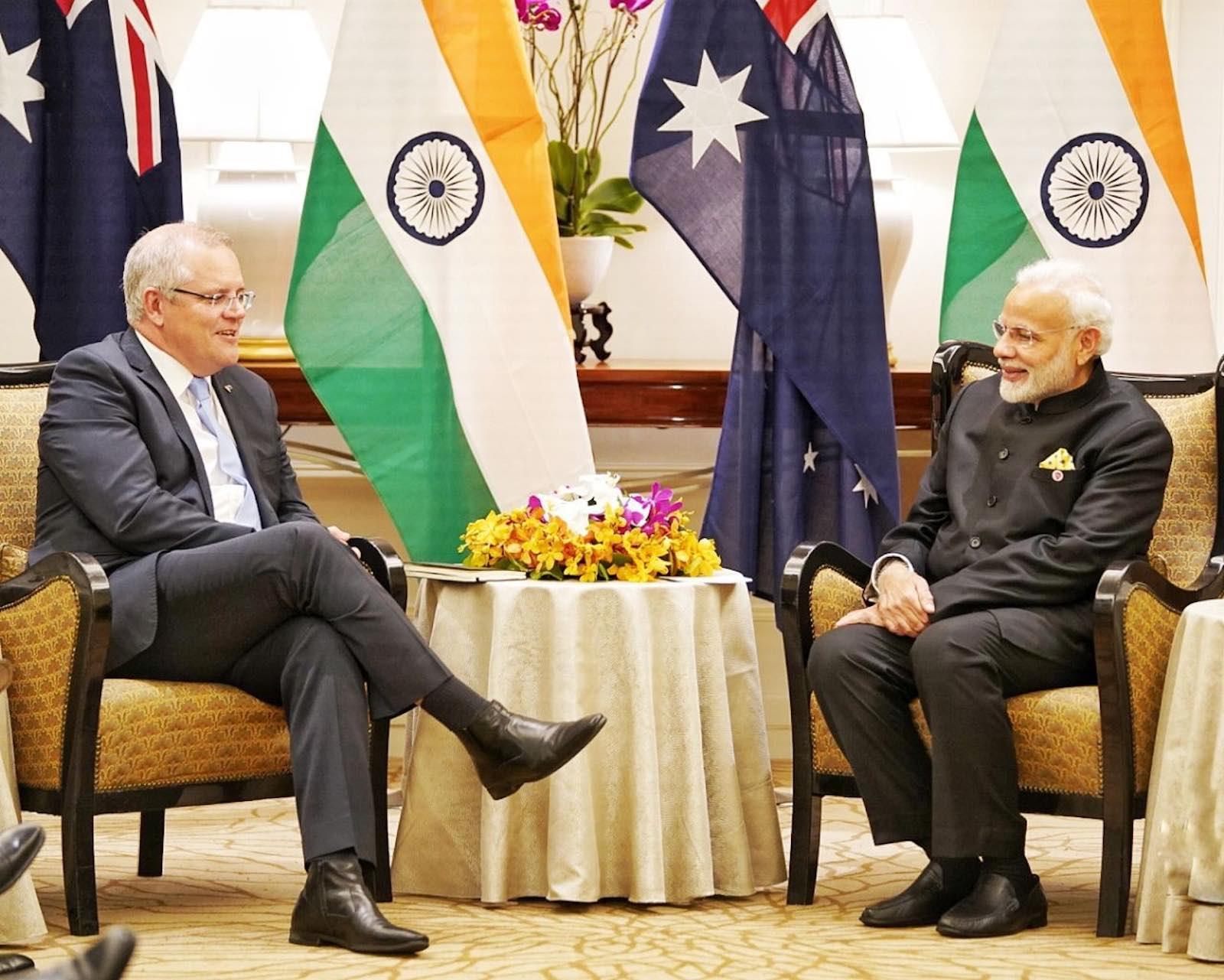 Prime Minister Scott Morrison and India's Prime Minister Narendra Modi (Photo: MEAphotogallery/Flickr)