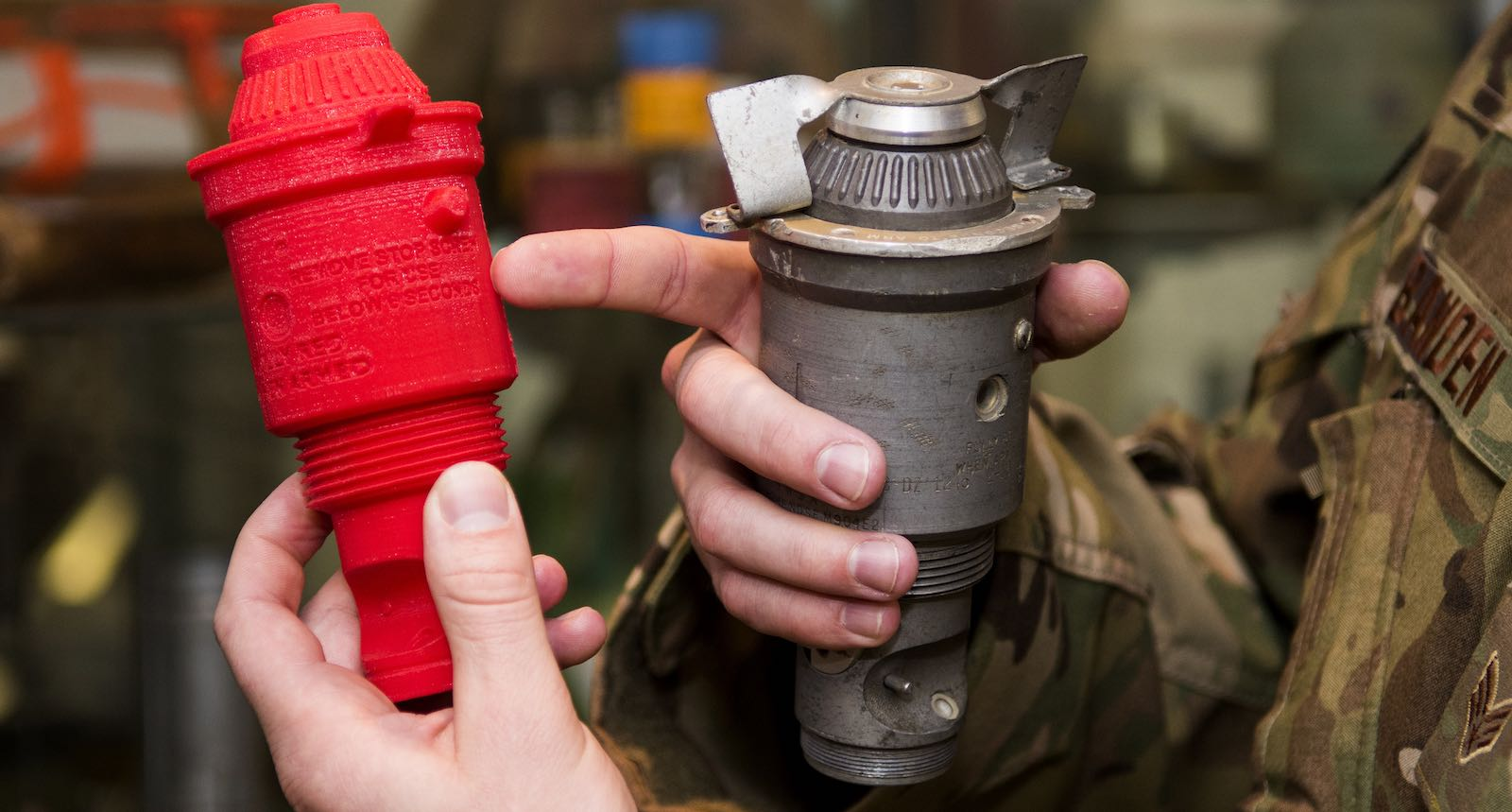 Comparing a M904 bomb nose fuse to its 3-D printed counterpart (Photo: US Air Force/Flickr)