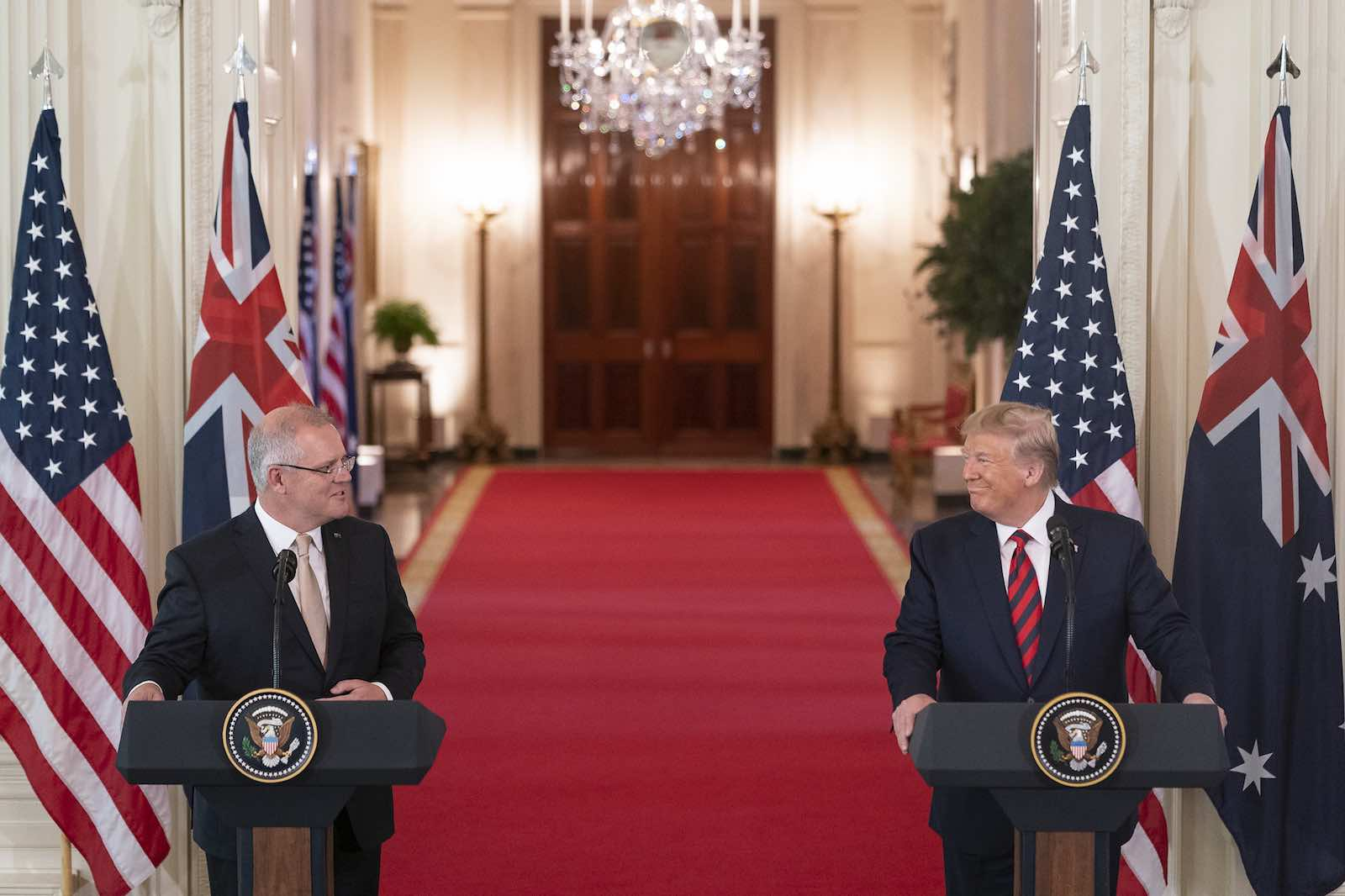 PM Scott Morrison gets a word in (Photo: White House/Flickr)