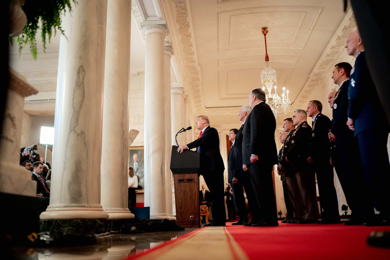 US President Donald Trump gives a televised address from the White House on 8 January, after Iran launched retaliatory missile strikes on US military targets in Iraq (Photo: The White House/Flickr)