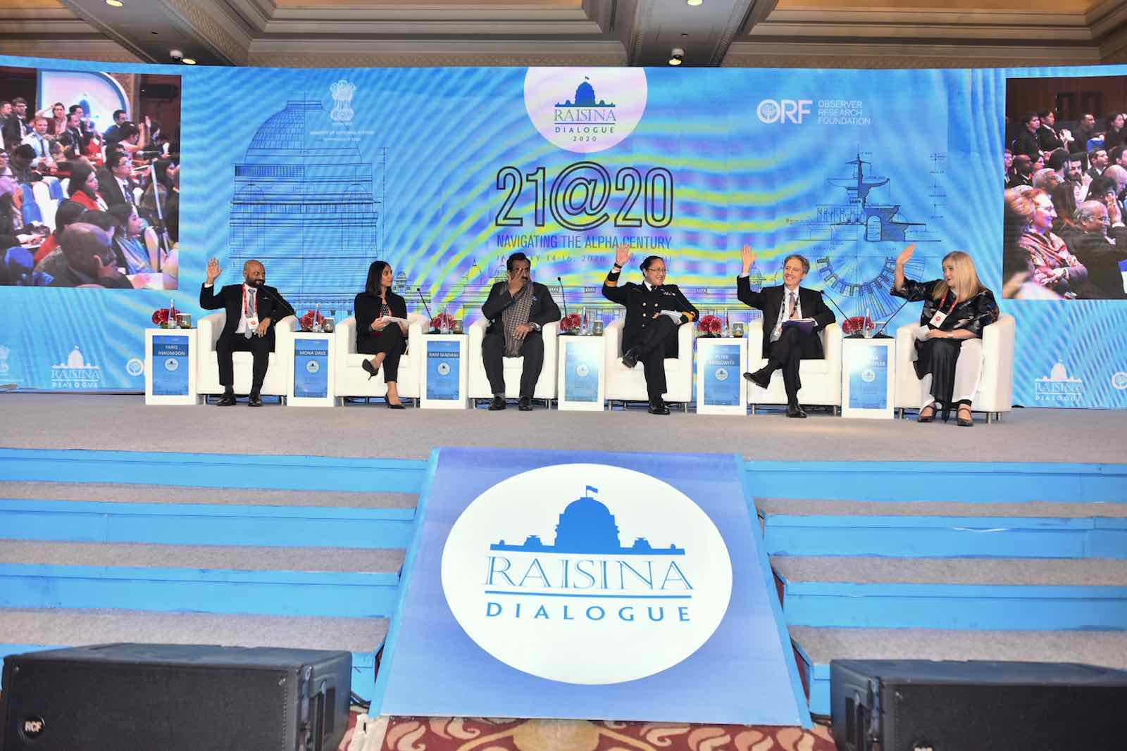 Raising hands Raisina Dialogue 2020 in New Delhi (Photo: MEAphotogallery/Flickr)