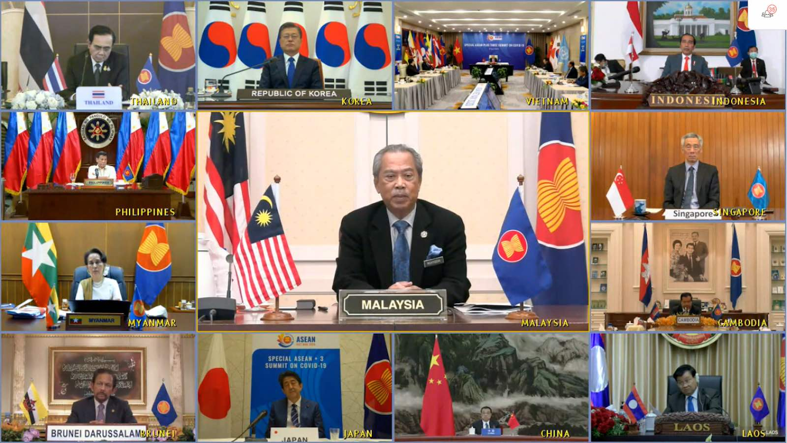Special ASEAN Plus Three Summit on coronavirus, 15 April (ASEAN Secretariat)