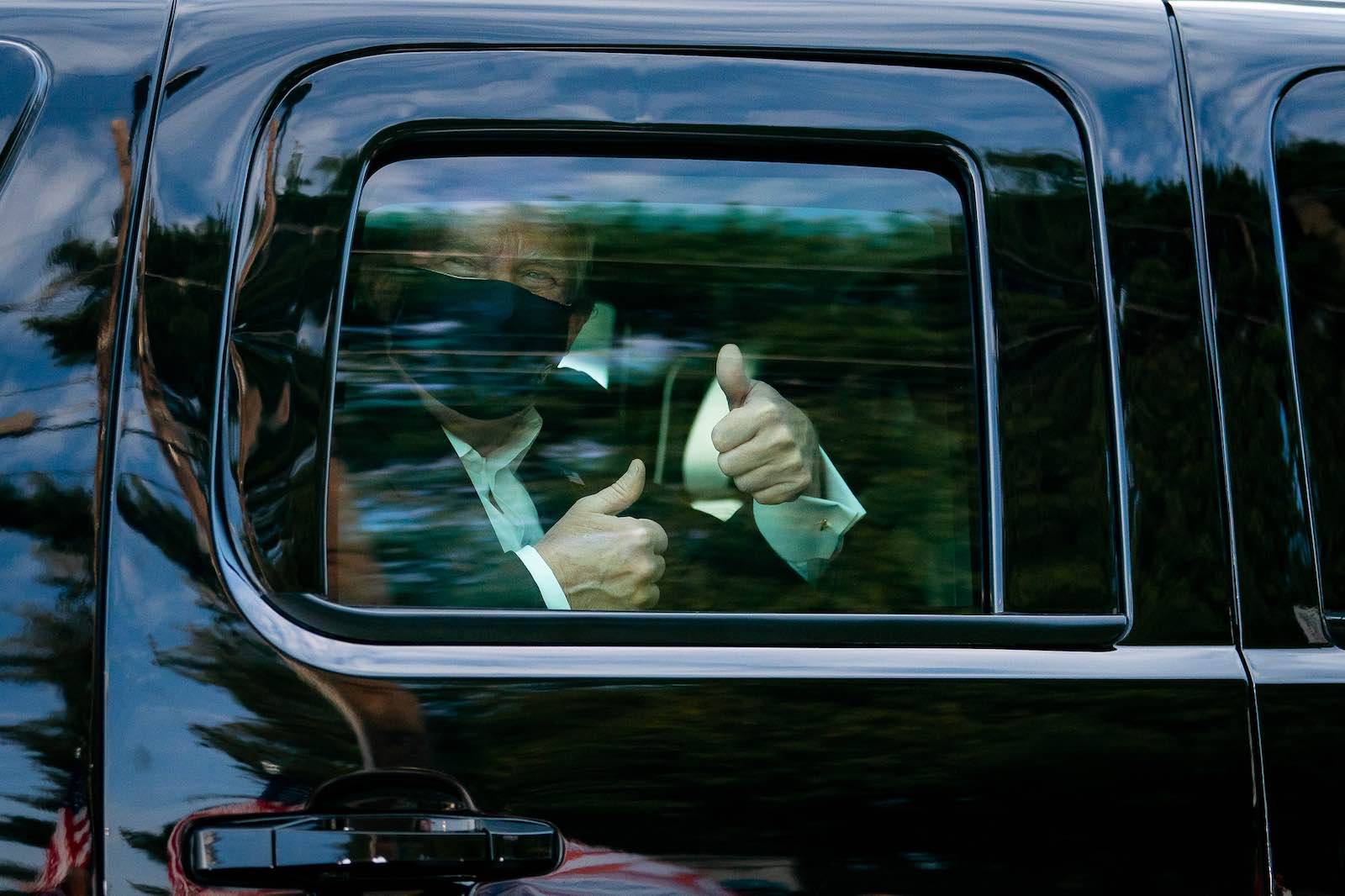 A drive-by while undergoing hospital treatment for Covid-19, 4 October 2020 in Bethesda, Maryland (The White House/Flickr)