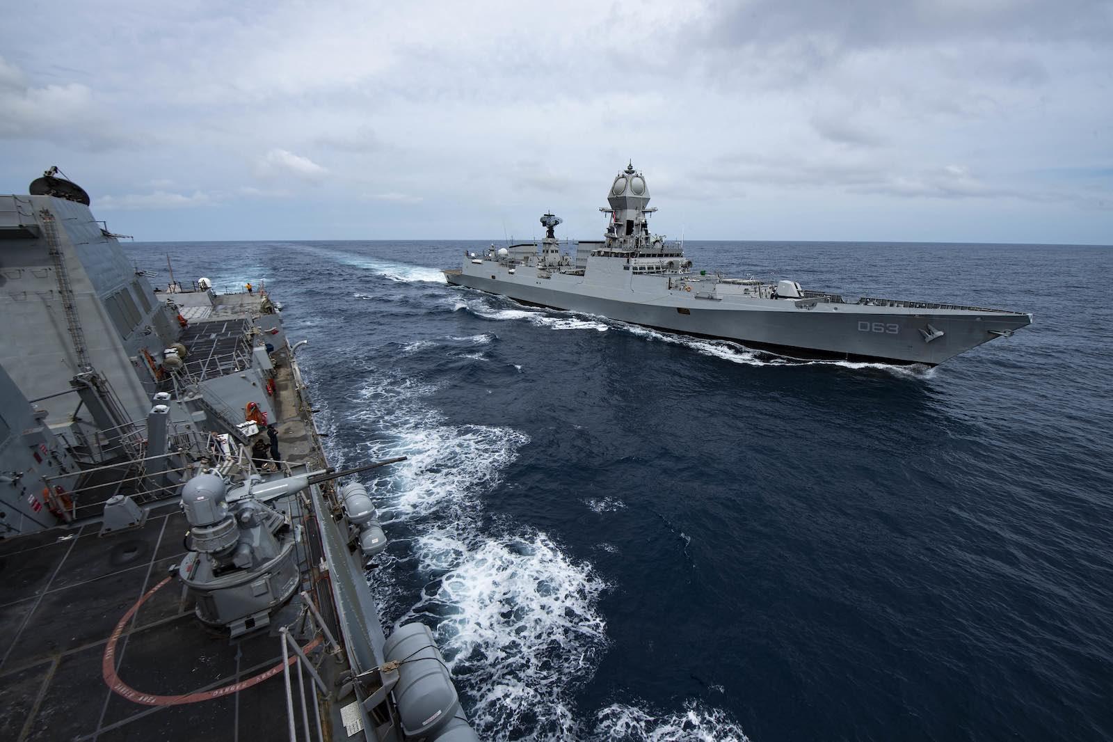 The Indian Navy destroyer INS Kolkata alongside guided-missile destroyer USS Sterett during Exercise Malabar, November 2020 (US Pacific Fleet/Flickr)