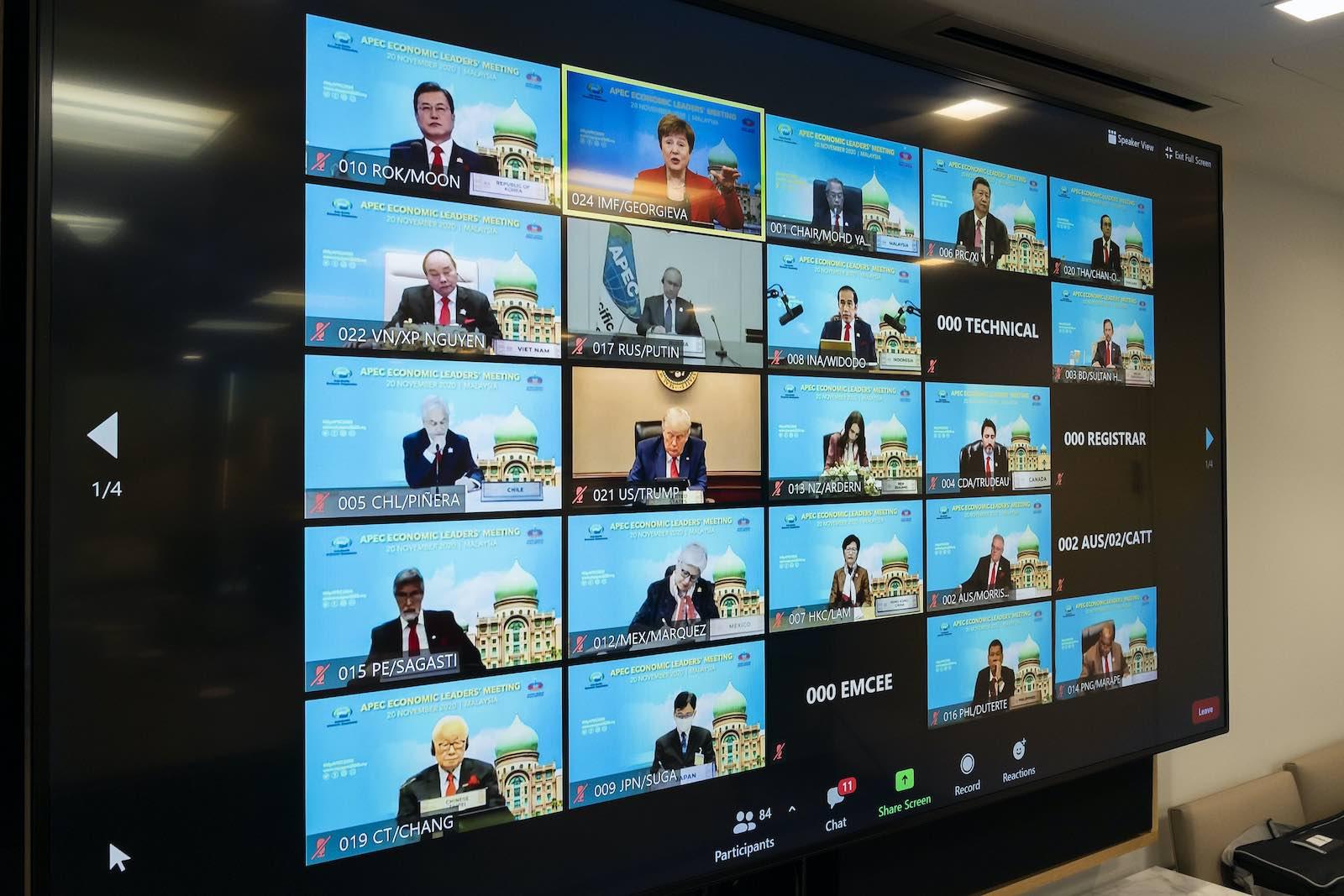 The virtual 2020 APEC leaders meeting (Cory Hancock/IMF Photo/Flickr)