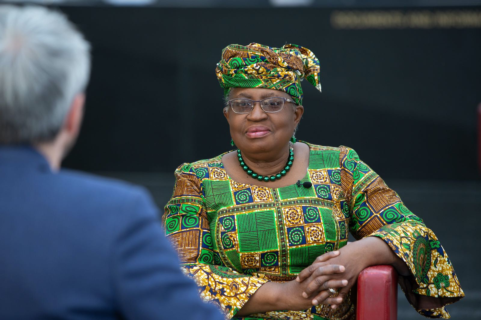 Ngozi Okonjo-Iweala during a media interview after taking over as Director General of the World Trade Organisation (Bryan Lehmann/WTO/Flickr)