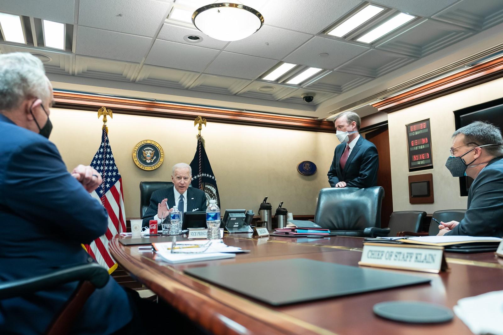 President Joe Biden talks by phone with Australian Prime Minister Scott Morrison from the White House Situation Room on 3 February 2021 (Adam Schultz/White House/Flickr)