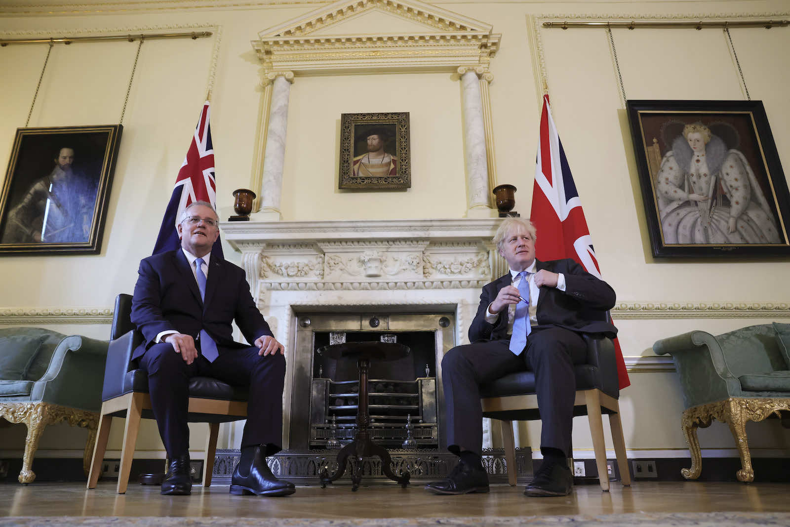 Australia's Prime Minister Scott Morrison meeting with British counterpart Boris Johnson in London this month (Andrew Parsons/No 10 Downing Street/Flickr)