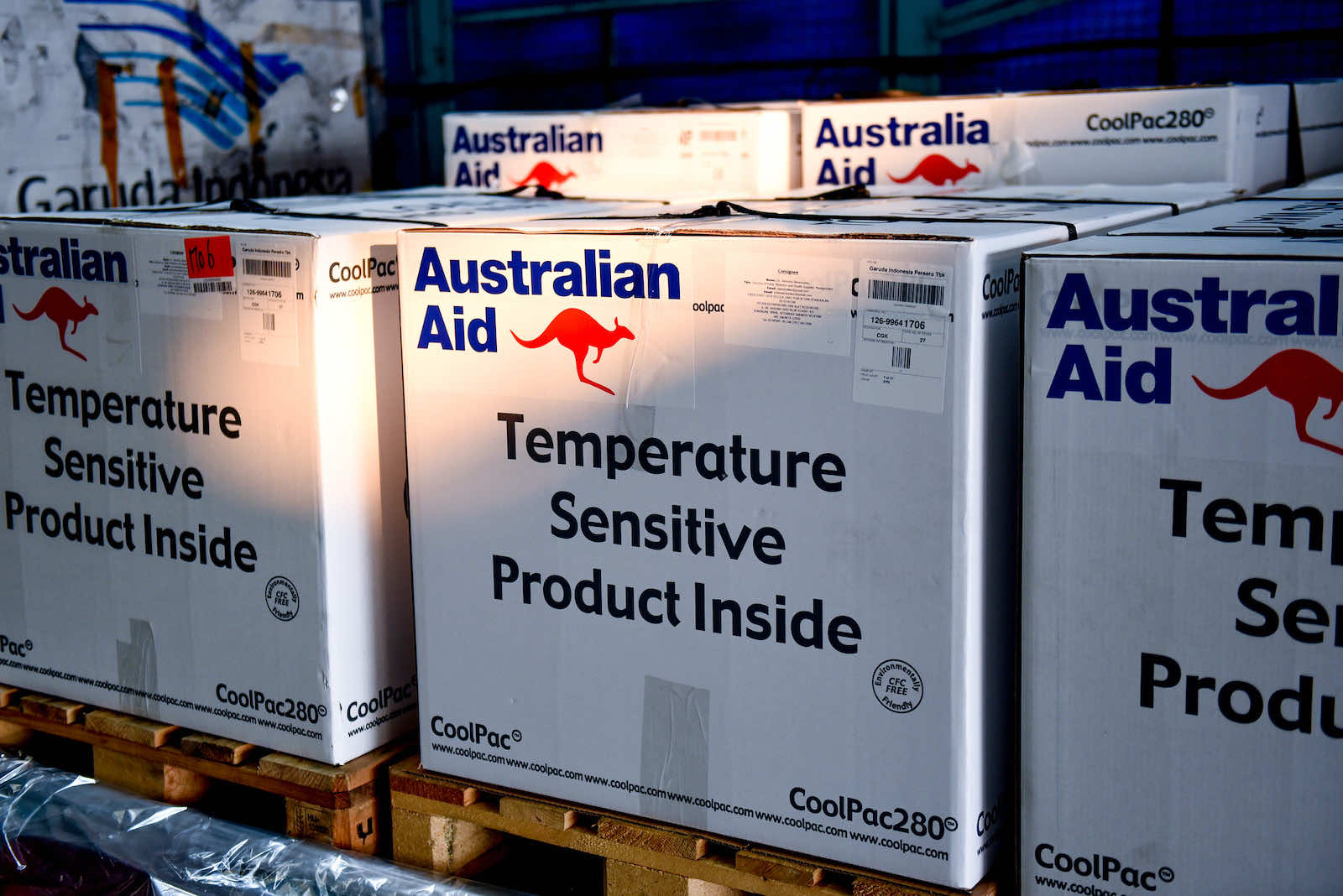 Part of a shipment of 500,000 AstraZeneca delivered by Australia to Indonesia in September (Timothy Tobing/Australian Embassy Jakarta/Flickr)